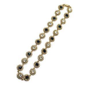 Elegant gold blue crystal necklace